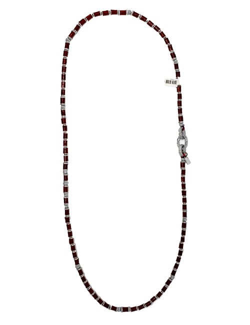 Necklace metal base sprayed silver and red python, composed of Magnesium-AL, lightweight, oxidation-free, naturally hypoallergenic silver/red