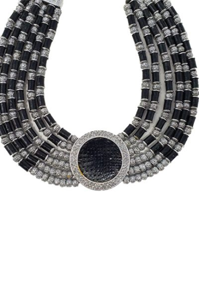 Necklace metal base sprayed silver and black python, composed of Magnesium-AL, lightweight, oxidation-free, naturally hypoallergenic silver/black