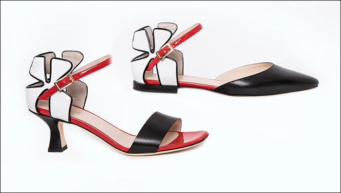 Black, White and Red Leather Shoes