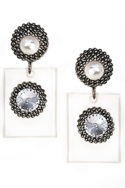 Marilyn plexiglass steal, and Swarovski crystal Pearl Clip Earrings BE015
