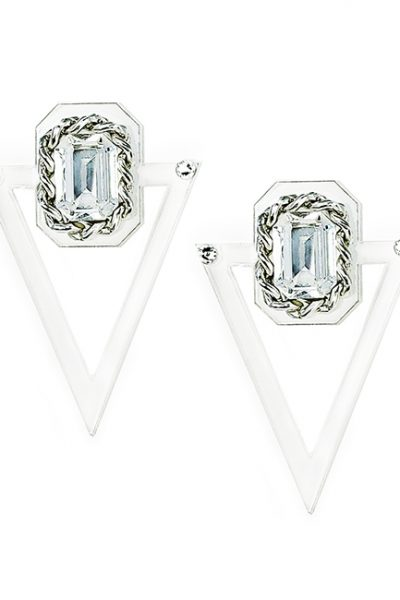 Marilyn plexiglass steal, and Swarovski crystal Clip Earrings BE009