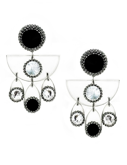 Marilyn plexiglass steal, and Swarovski crystal Clip Earrings BE003