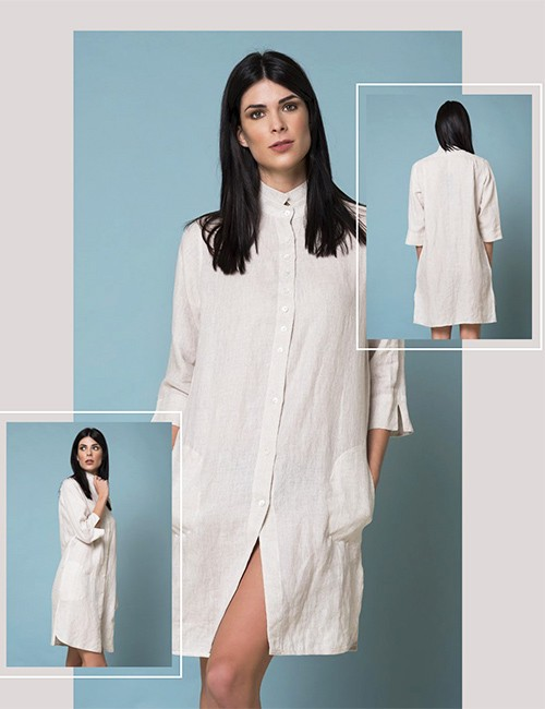 Marilyn Luxury Casual Italian Made Linen Dresses with Button down front and pockets