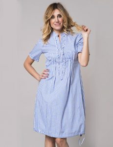 Marilyn Luxury Casual Italian Cotton Dress with detail front and pockets