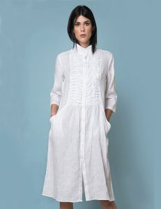 Marilyn Luxury casual Italian made Linen Dresses detail front and pockets