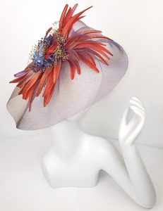 Marilyn Headband fascinator Handmade in Paris 2614 Blue-Red