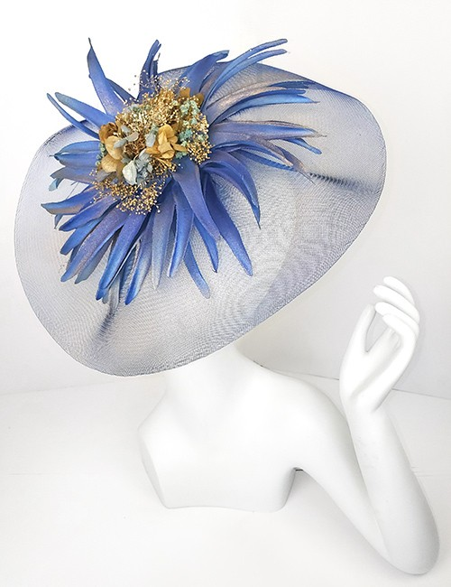 Marilyn Headband fascinator Handmade in Paris 2614 Blue