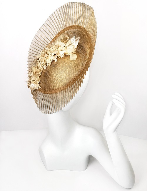 Marilyn fascinator Handmade in Paris 2641 Gold
