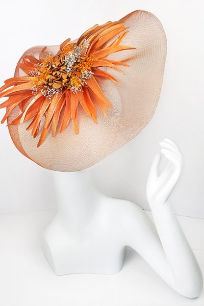 Marilyn Headband fascinator Handmade in Paris 2614 Orange