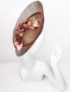 Marilyn fascinator Handmade in Paris 2641 Brown-Pink