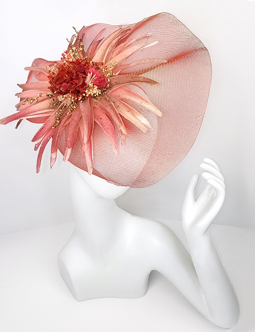 Marilyn Headband fascinator Handmade in Paris 2614 Red-Pink