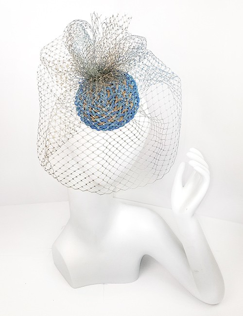 Marilyn fascinator Handmade in Paris 2655 Teal Gold