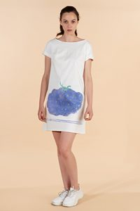 Marilyn France Loup-Maison hand painted cotton Dress, white background painted Plum