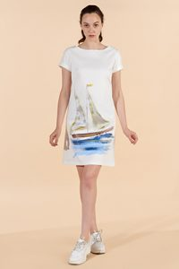 Marilyn France Loup-Maison hand painted cotton Dress, white background painted sailboat