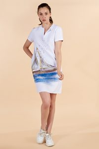 Marilyn France Loup-Maison hand painted Linen V-neck Dress, white background painted sail boat