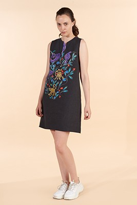 Marilyn France Loup-Maison original print Linen Dress, Black background and print front