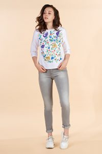 Marilyn France Loup-Maison original print cotton top, White background and print front