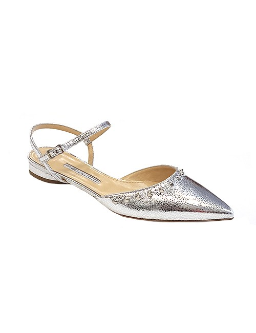 Marilyn, Italian Handmade crackled Leather Flat Ankle Heal Strap Shoes 3019