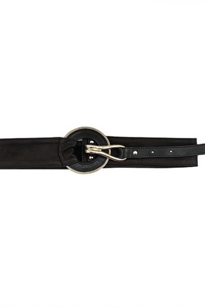 Marilyn Italian Handmade Leather Belt with Detail 5093 black