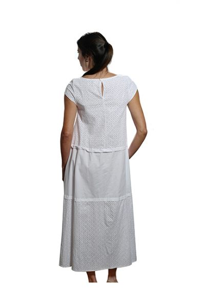 Marilyn Luxury Casual Italian Cotton Long Dress with round neck and pockets Barros
