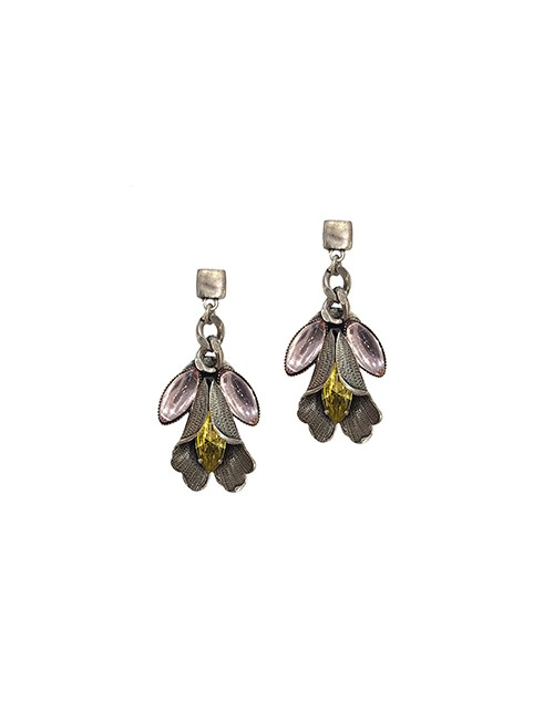 Marilyn Spanish, Handmade Silver with Pastel Glass Crystals Pierced Earring