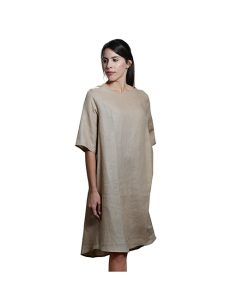 Marilyn Luxury Casual Italian Linen dress with round collier, one pleat in back Caterina