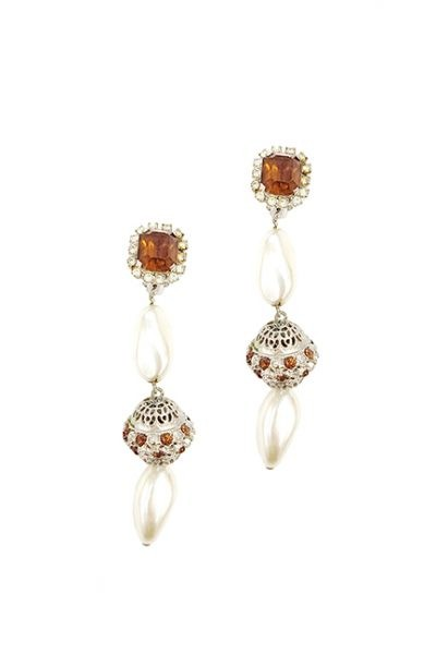 Marilyn Handmade Venetian, Pearl Clip Earring with Swarovski Crystal, of Clear and Amber