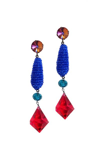 Marilyn Handmade Venetian, Swarovski Crystal Mix Color Glass Bead Pierced Earrings