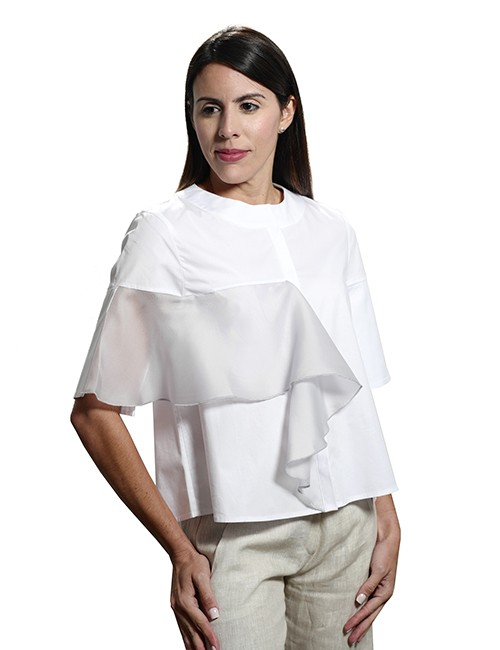 Marilyn Contemporary White Cotton Stretch with Silk Organza Detail in Grey