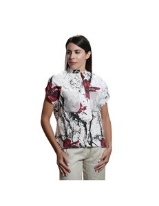 Marilyn Contemporary Marble Ink design, Cotton Stretch with Silk Organza Detail in Grey