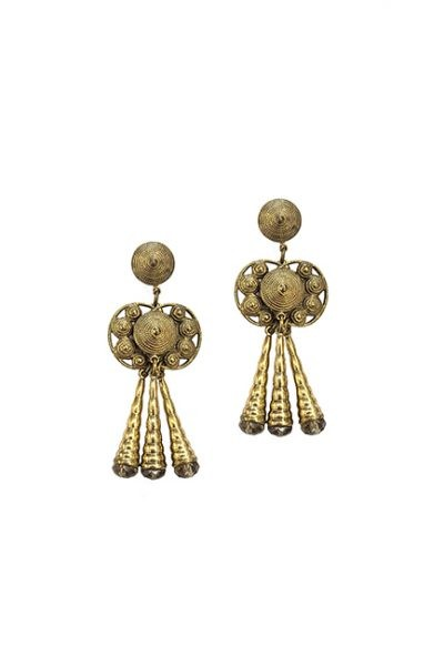 Marilyn Spanish, Handmade Bronze with Crystal Pierced Earring