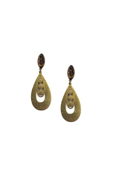 Marilyn Spanish, Handmade Bronze Drop Pierced Earring