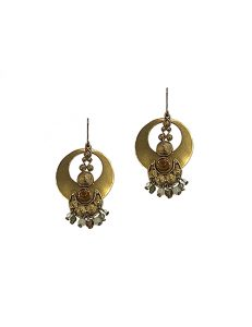 Marilyn Spanish, Handmade Bronze decorative Semi-Precious Stones Pierced Earring