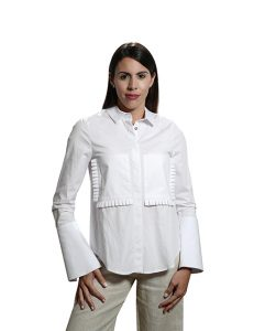 Marilyn Contemporary White, Cotton Stretch with Detail Cuffs and Front Pockets