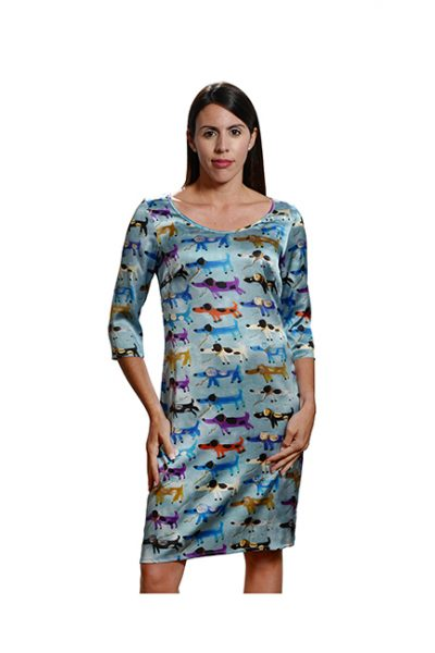 Marilyn France Loup-Maison original print Stretch Silk Dress JK22