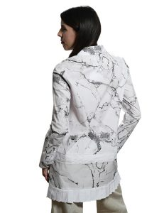 Marilyn Contemporary Long, Cotton Stretch, marble print white box pleat at bottom