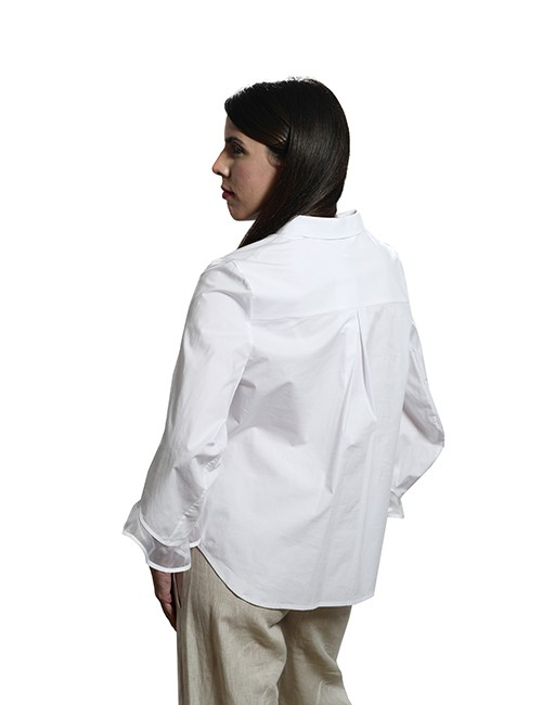 Marilyn Contemporary, White Cotton Stretch, Blouse with Silk Organza Cuff Detail