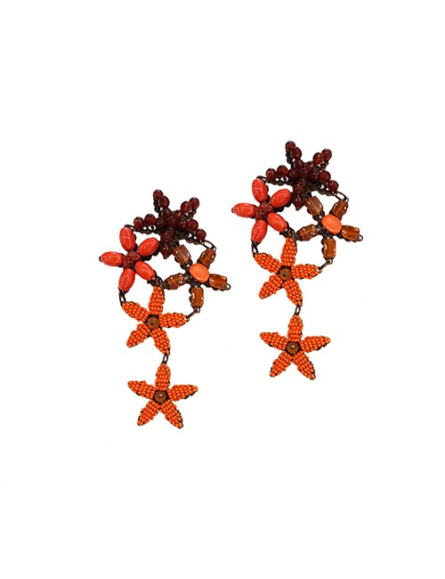 Marilyn Handmade Venetian, Five Star Coral and Glass Beads on Copper Clip Earrings