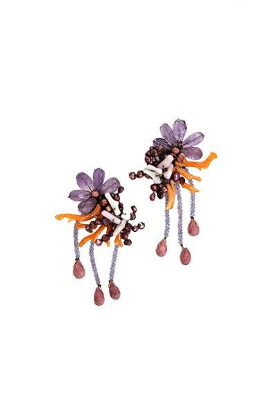 Marilyn Venetian Coral, Glass, Jewelry, Pierced Earrings Pink Coral and Lavender Glass