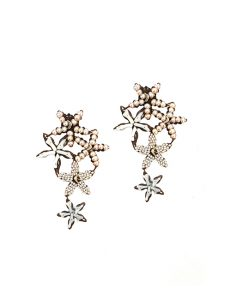 Marilyn Handmade Venetian, Five Star Coral and Pearl on Copper Clip Earrings