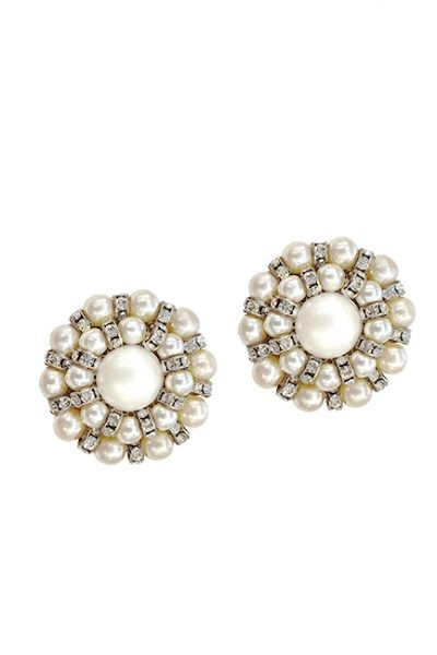 Marilyn Handmade Venetian Round, Pearl with Swarovski Crystal, Clip Earrings