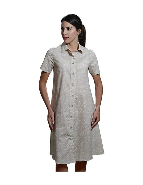 Marilyn Luxury Casual Italian Cotton Dress with button front and pockets Solo