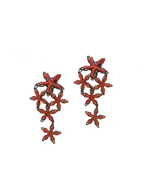 Marilyn Handmade Venetian, Five Coral Star on Copper Clip Earrings