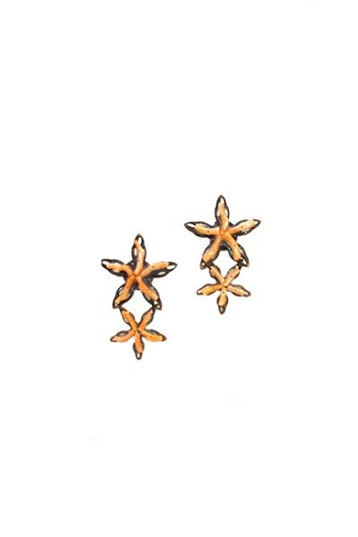 Marilyn Handmade Venetian, Two Coral Stars on Copper Pierced Earrings