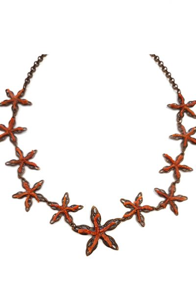 Marilyn Venetian Coral on Copper Stars Necklace