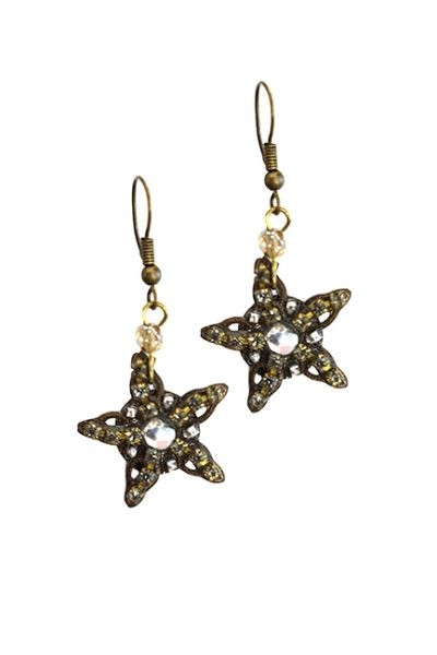 Marilyn Handmade Venetian, One Stars Swarovski Crystal, on Copper Pierced Earrings