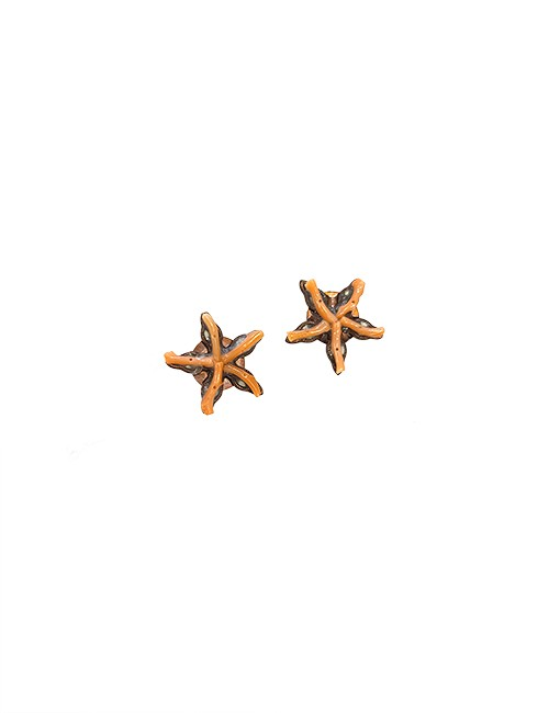 Marilyn Handmade Venetian, One Coral Stars on Copper Pierced Earrings