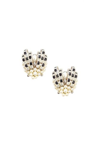 Marilyn Handmade Venetian Pearl with Black, Crystal Swarovski, Clip Earrings