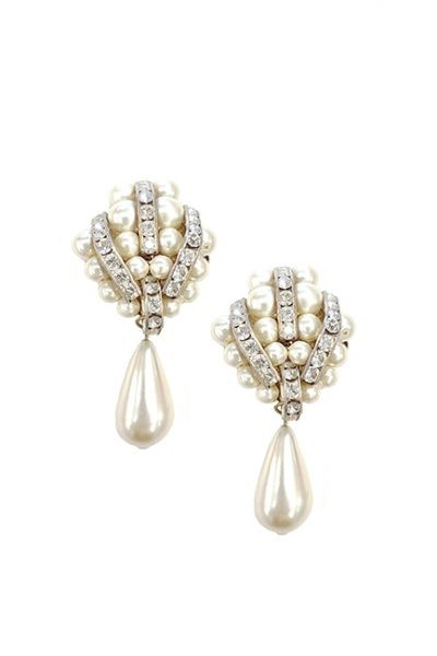 Marilyn Handmade Venetian Pearl with Swarovski Crystal, Clip Earrings