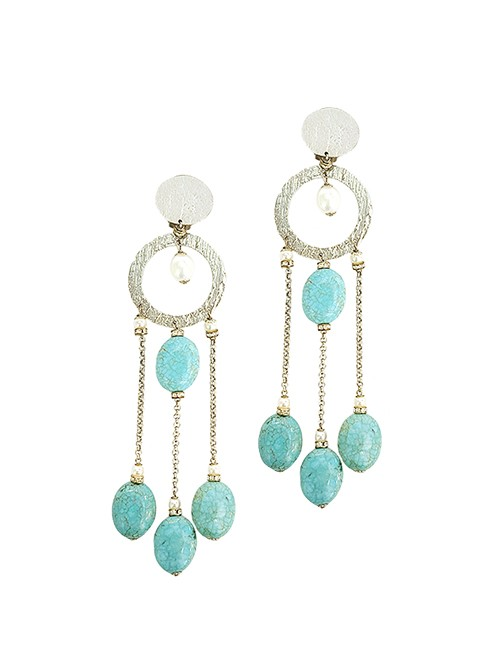 Marilyn Italian Made Long Turquoise stone and Siler metal with Crystals, Clip Earrings